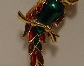 Vintage Parrot Brooch Cloisonne