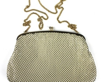 Vintage Almond Cream Chainmaille Purse or Clutch