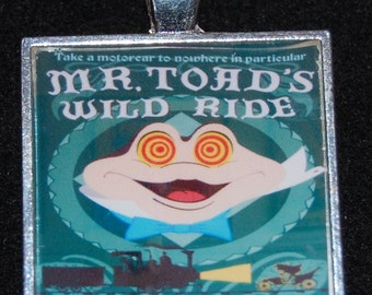 Mr Toad Wild Ride Attraction Poster Pendant Necklace Disney WDW World Disneyland Magnet Jewelry