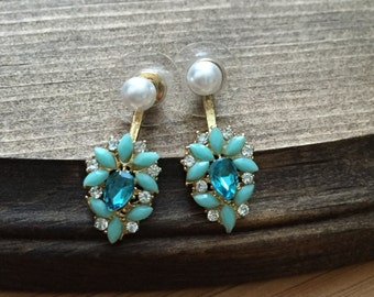 Mint, Turquoise, and Pearl Jacket Earrings
