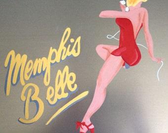 World War II Bomber Art,  Memphis Belle in Pink, Pin Up Girl Style Bomber Nose Art, WWII Air Combat Art