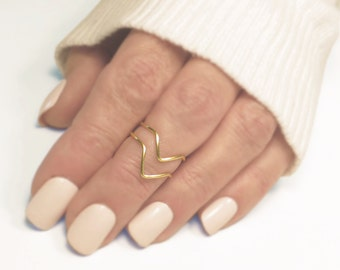 Midi Knuckle Ring Set of 2, Chevron Knuckle Rings, Handmade, Stacking Dainty, Silver or Gold-tone