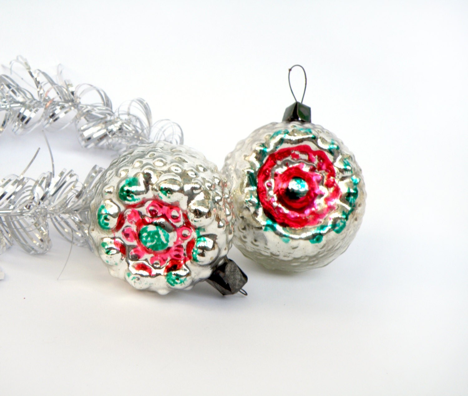 Glass indent bulbs christmas ornament set of shiny ornaments