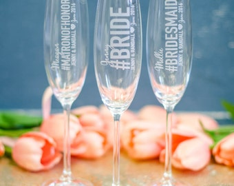 Personalized Will You Be My Bridesmaid Hashtag Lenox Tuscany Champagne Flutes (ONE) Engraved Crystal Flute, Bridesmaid Proposal Gift