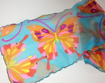 Fun and Funky Rainbow Butterfly Long Sheer Crepe Scarf, Boho hippie oblong scarf, Stain Glass Butterfly, ruffled edges