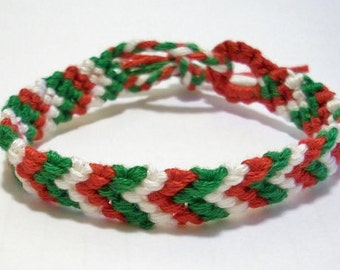 Red, White & Green Christmas Colored Chevron Pattern Embroidery Macrame Friendship Bracelet