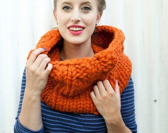 Thick cozy hand-knit cowl