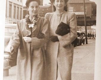 Vintage Street Photographer Snapshot 2 Women 1940s Fashion Photo