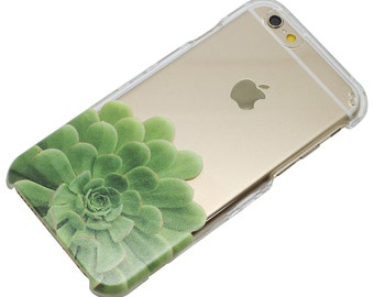 Lower Green Succulent Plant Clear iPhone 6, 7, SE, 6 Plus, 7 Plus, 6S, 5, 5C, 5S, Galaxy S6, S7, Note 5, Note 7