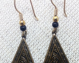 ON SALE! Vintage Bronze Art Nouveau Dangle Earrings