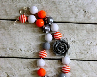 Orange white and gray necklace girls chunky bead necklace birthday bubblegum necklace girls TN Volunteers longhorn football