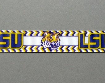 "Sale!!!  LSU TIGERS 7/8"" Chevron-Bordered Grosgrain Ribbon - 3 Yards"