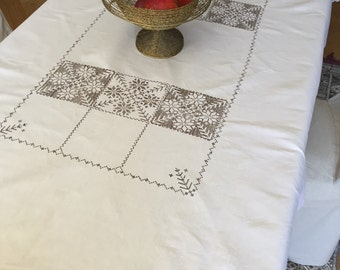 Old sweedish tablecloth, embroidered, made of linen, border crochet lace