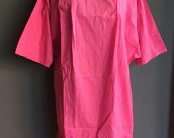 Vintage 60s Classic Stencil Floral Flower dress Hot Pink L XL sale