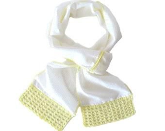 White Cotton Scarf - Unique Handmade Crochet Scarf - White Lightweight Scarf with Yellow Crochet Border