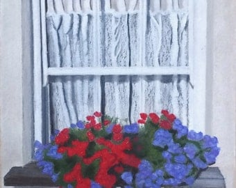 "Window with flowers - giclee print of original pastel painting 10"" x 8"""