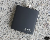 Engraved Initials Flask - Personalized Flask - Custom Hip Flask - Monogram Flask - Color Options - Groomsman Gift, Bridal Party Gift