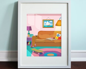 The Simpsons Living Room   The Simpsons, Homer Simpson Art Print, TV Sitcom