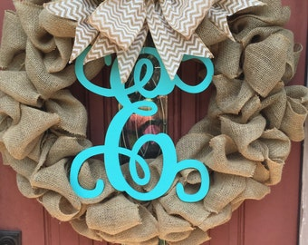 Extra Large Burlap Wreath with Removable Grapevine Letter