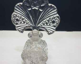 Beautiful Cut Glass Perfume Bottle With Hobstars On the Stopper