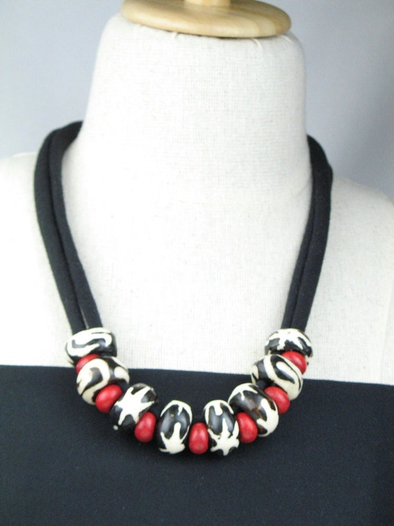 Bone Bead Necklace with Black T-Shirt Cord and Red Howlite Beads / African Fair Trade Chunky Artisan Jewelry