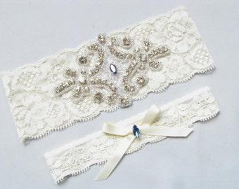 Blue Wedding Garter Bridal Set Ivory Off White Lace Keepsake