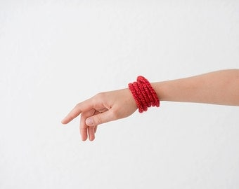 Knitted bracelet, knit jewellery, red