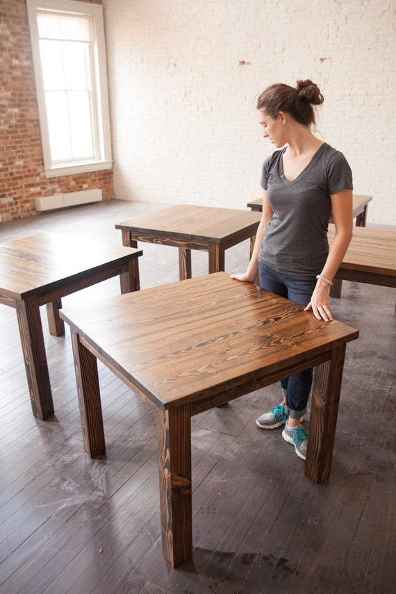 Square Solid Wood Farmhouse Table Square Farmhouse by EmmorWorks
