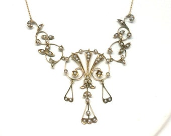 14k Seed Pearl Edwardian Garland Necklace 1890s