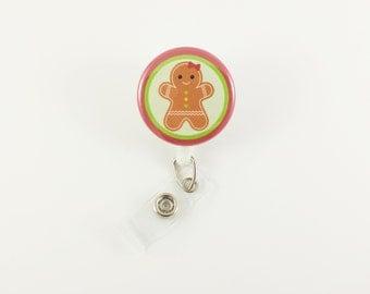 Gingerbread Girl - Badge Reel - Retractable ID Badge Holder - Holiday Badge Clip - Nurse - RN - Pediatric ID Holder - Cute Badge Reels