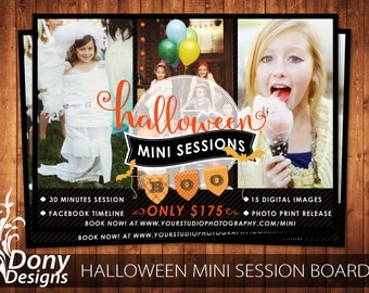 Halloween Mini Session Template Photography Marketing board - Photoshop template Instant Download - BUY 1 GET 1 FREE: ms-517