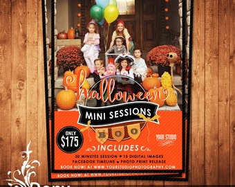 Halloween Mini Session Template Photography Marketing board - Photoshop template Instant Download - BUY 1 GET 1 FREE: ms-518