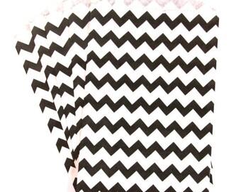 10 Black Medium Chevron Paper Food Safe Craft Favor Bags by Whisker Graphics