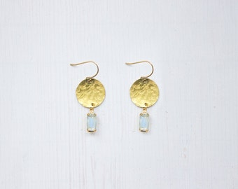 Glass Crystal Hammered Brass Earrings