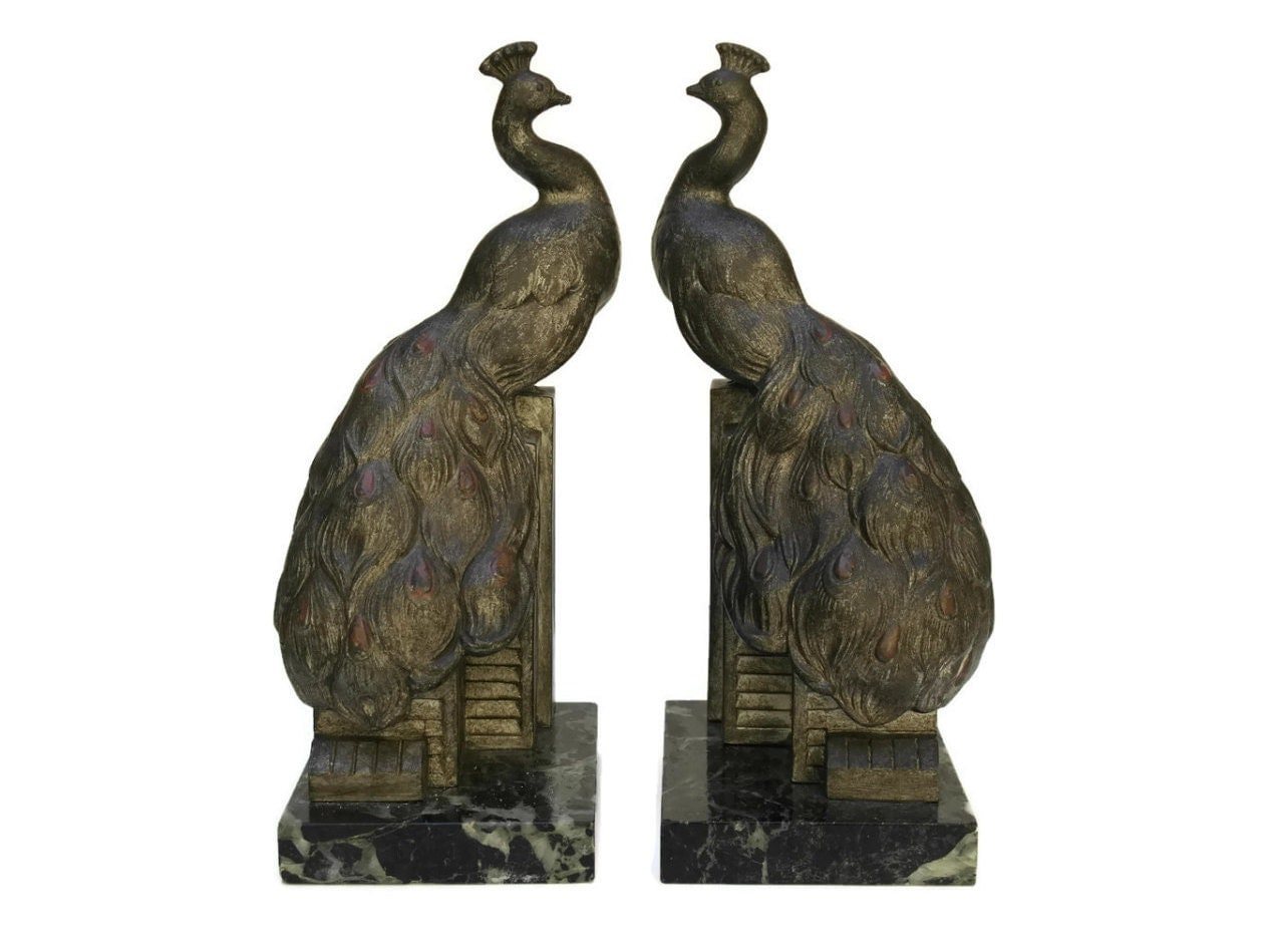Art Deco Peacock Bookends Vintage Peacock Figures And Marble