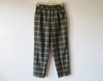 Moss Green Plaid Pants High Waist Tartan Plaid Wool blend Tapered Womens Trousers Checkered Size Medium