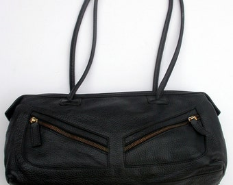 BLUMARINE wonderful black leather bag  Made in Italy