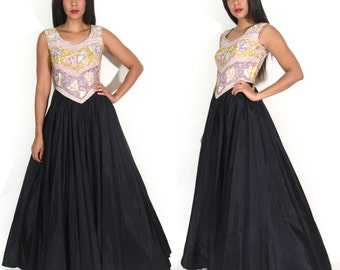 Vintage 50s Leaf Floral Soutache Black Full Swing Skirt Maxi Dress Evening Gown Glam