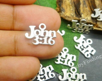 BULK - 40 Silver Christian Charms - Bible Verse - John 3:16 Charms - God's Love - Charms Wholesale Lot- MC0112
