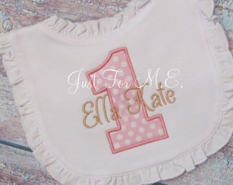 Personalized 1st Birthday Girl Applique Bib-Makes a Great first birthday gift-FREE MONOGRAM
