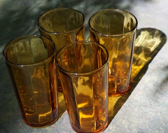 Vintage Amber Highball Tumblers, Faceted; Set of 4