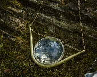 A Black Mossy Realm Necklace, Preserved moss, brass, nature necklace, moss jewelry
