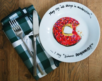 Hand Painted Glazed Doughnut side plate Yummy food Fun Gift