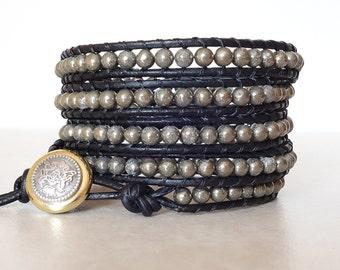 Boho pyrite wrap bracelet/ Bohemian leather 5 wrapped bracelet/ Rocker gemstone black ladder yoga bracelet