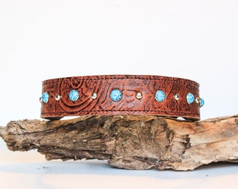 Leather Dog Collar // Brown Floral Leather and Turquoise