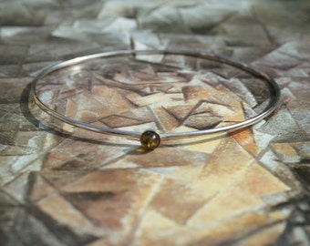 Sterling Silver Very Thin Bangle Set With Green Amber Stone, Narrow Bangle