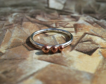 Sterling Silver Stacking Ring With Three Copper Balls, Thin Band Ring.