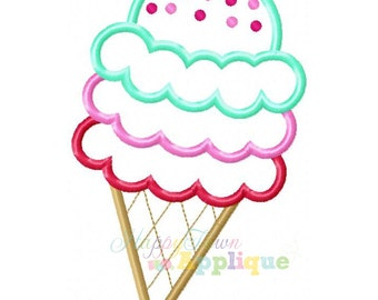 Ice Cream Cone 2 Machine Embroidery Design