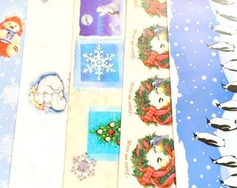 5 Sheets Winter Christmas Holiday Wrapping Paper Lot, Polar Bears, Penguins, Feathered Friends, Nancy Kaestner, Tree, Scrapbook Paper, WWF