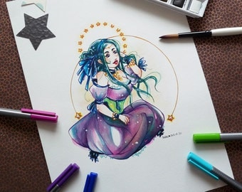 Original illustration in watercolor - Stars and Moon